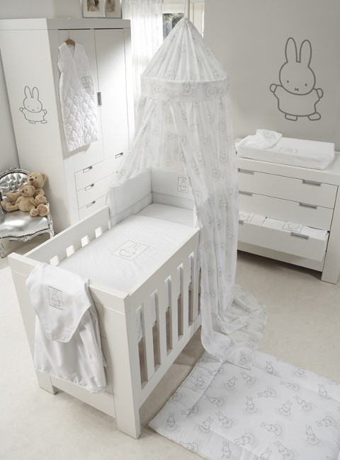 Laken en sloop 80 x 100 cm Nijntje wit / zilver| Anel babyartikelen ...